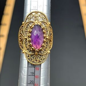 Gold over Silver Filigree Amethyst ring7.25 $100